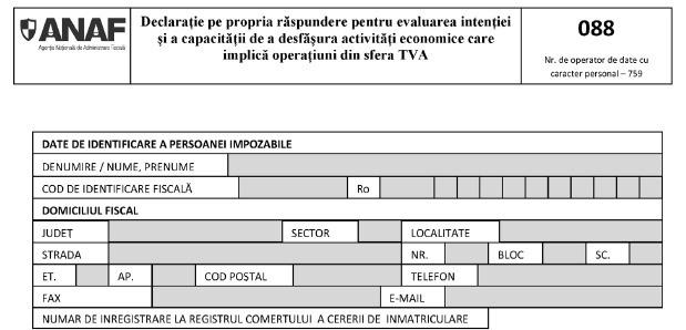 Aprobarea modelului și conținutului pentru Formularul 088